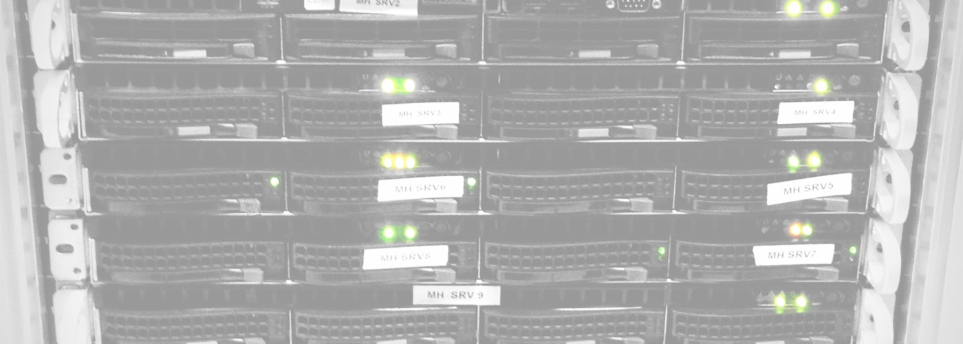 Rack of Servers in Black and White